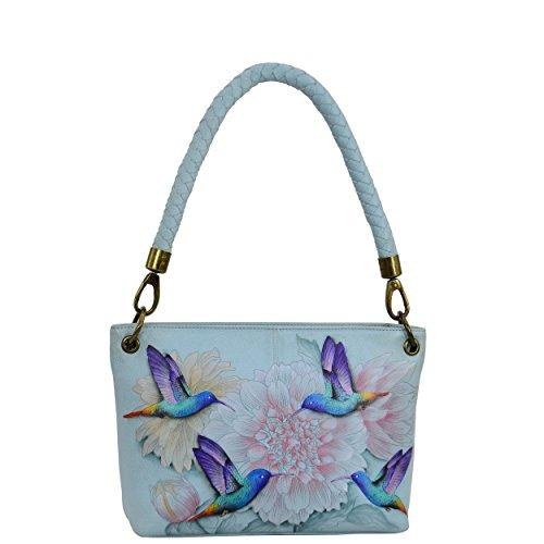 Anuschka Women's Genuine Leather Medium Shoulder Bag | Hand Painted Exterior | Rainbow Birds