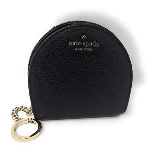 Kate Spade New York Half Moon Wallet Coin Purse Key Ring Chain Black, Small