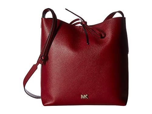 Michael Kors Junie Large Pebbled Leather Messenger Bag- Maroon