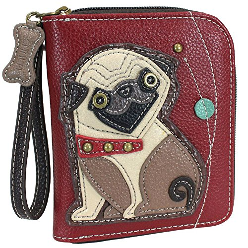 Chala Pug Zip-Around Wristlet Wallet, Pug Mom Gift