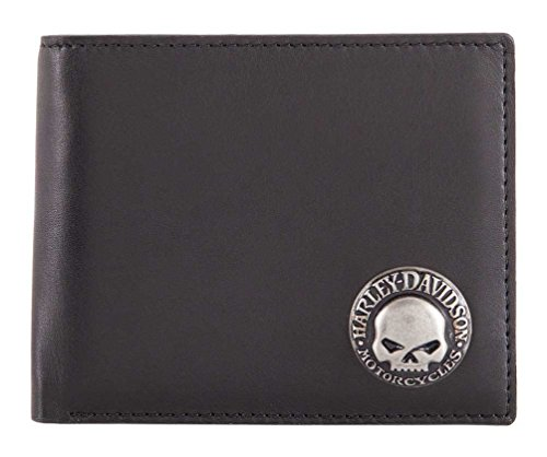 Harley-Davidson Mens Skull Concho Bi-Fold RFID Genuine Leather Wallet HDMWA11474