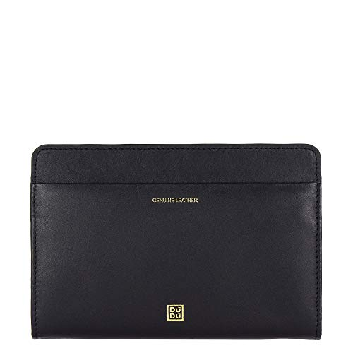DUDU Women's Wallet Purses in Soft Genuine Leather Clutch Bag with Double Magnet Zip Card Slots Black