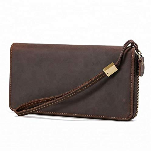 ZGQA Handmade Men Long Purse Phone Bags Male Clutch Wallets Large-Capacity Multi-Function Travel Package Fashion Wallet (Color : Coffee, Size : S)