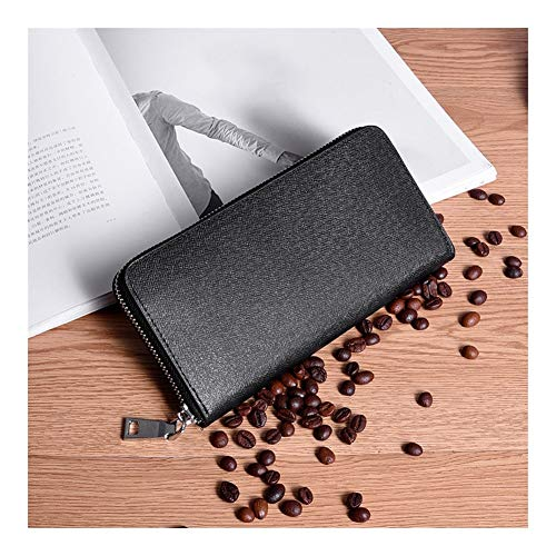 ZGQA Fashion Trend Cross Pattern Clutch Bag Men's Leather Long Zipper Wallet Suitable for Leisure Shopping Fashion Wallet (Color : Black)