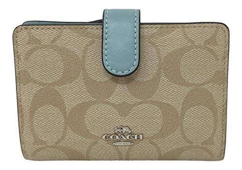 Coach Medium Corner Zip Wallet Signature PVC Light Khaki Seafoam