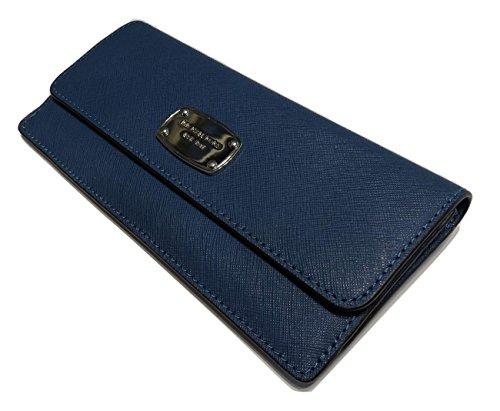 Michael Kors Jet Set Travel Flat Wallet Saffiano Leather Steel Blue
