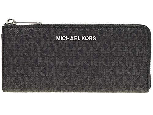 Michael Kors Jet Set Travel Large Three Quarter Zip Wallet (Black Signature)