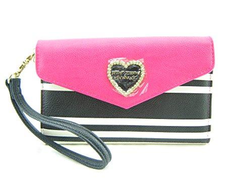 Betsey Johnson Women's Wristlet Wallet, Fuchsia Pink Cream with Heart Charm