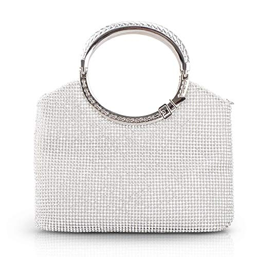 Qwerty Dress Cheongsam Bag, Fashion Rhinestone Large-Capacity Banquet Evening Party Evening Hand Bag, Can Put Mobile Phone Capacitysilver The Most Beautiful Accessories