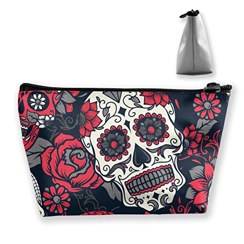 The Dead Sugar Skull With Floral Ornament And Flower Canvas Makeup Bag Pouch Purse Handbag Organizer with Zipper