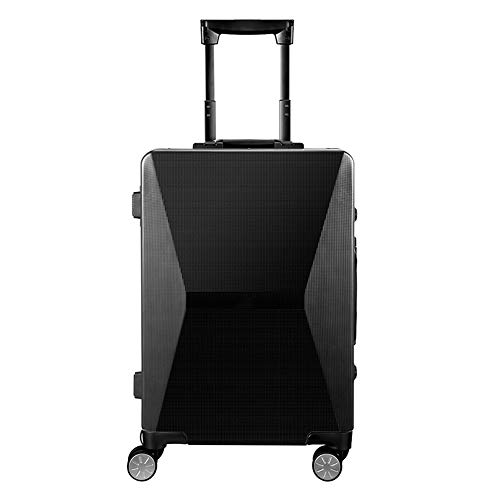 Carry on Luggage Suitcase Trolley Hand Luggage Suitcase PC Smart Carry On Cabin Box Cases Fingerprint Lock Solar Charge TSA Lock Scratchproof 38X23X56CM Silver and Black