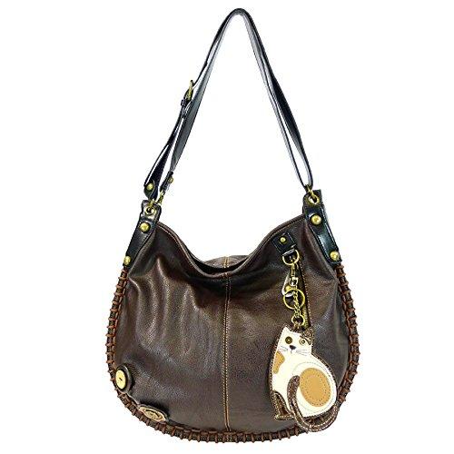 CHALA Crossbody Handbag, Hobo Style, Casual, Soft, Large Bag Shoulder or Crossbody – Cat – Dark Brown