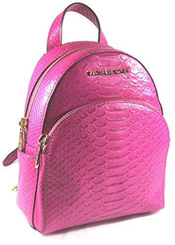 Michael Kors 35T7GAYB1E Abbey Extra Small Fuschia Embossed Leather Backpack Crossbody