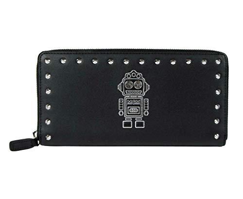 MCM Women's Black Leather Zip Around Robot Large Studded Wallet MZL9SRO33BK001