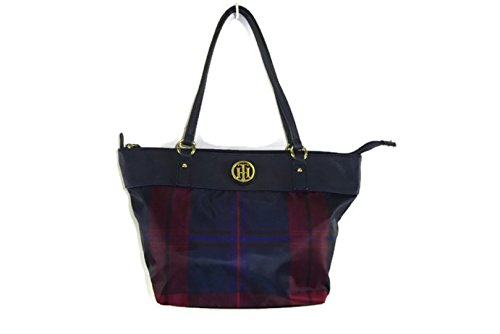 Tommy Hilfiger Women's Lucie – Nylon/Smooth Shopper Navy/Red Shoulder Bag
