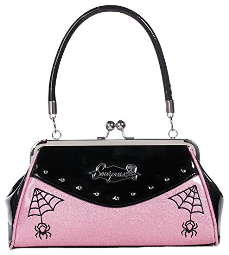 Sourpuss Webbed Widow Purse Black/Pink
