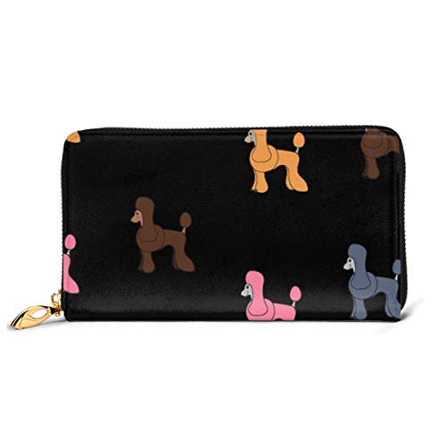 Yunshm Cartoon Poodle Leather Zipper Clutch Bag Wallet Large Capacity Long Purse For Women Customized