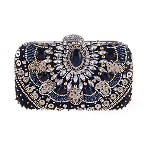 TOMSSL Elegant Retro Heavy Dense Ball Diamond Ladies Women Clutch Evening Bag Banquet Bag Dress Bag Black 19 5.5 11CM Beautiful Atmosphere