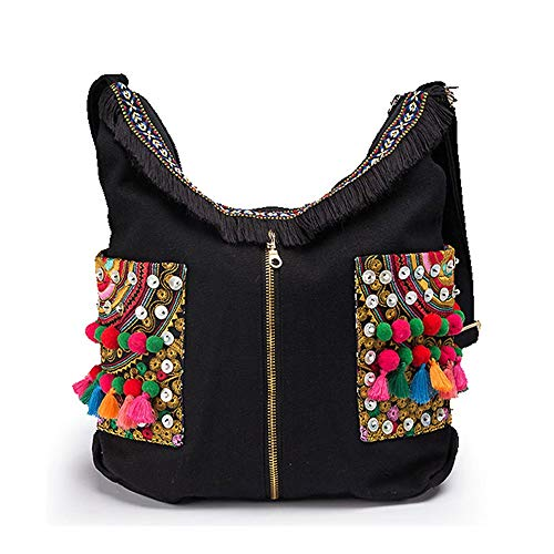 Handbag-Ethnic Vintage Canvas Embroidered Fur Ball Shoulder Bag Messenger Bag, 36 12 27cm Simple Personality