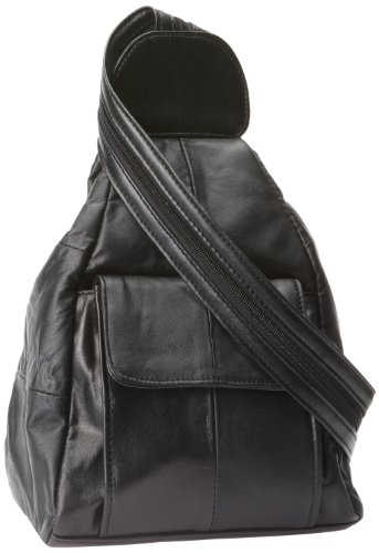 Embassy Solid Genuine Lambskin Leather Hobo Sling/Backpack Purse