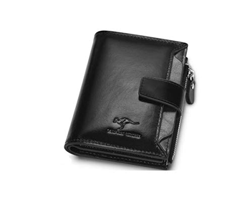 Kalmar RFID Travel Wallet, Suitable for Male First Layer Cowhide Zipper Retro Multi-Function Leather Wallet, Color, Black, Size (12.52.510) cm Stealth Mode Blocking Leather Wallet