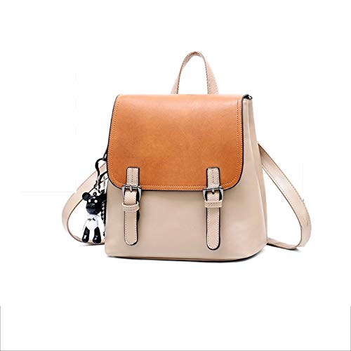 HENGTONGTONGXUN Ladies Simple Soft Side Leather Backpack, Multi-pocket Mini Square Waterproof Comfortable Backpack, Color Matching Design Cute Pendant Schoolbag For Students Simple and practical produ