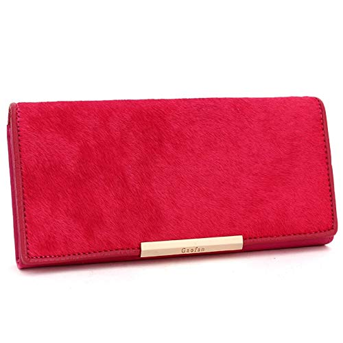 ZGQA Women's Wallet Long Horsehair Leather Clutch Bag Women's Trendy Personality Clutch (Color : Red, Size : S)