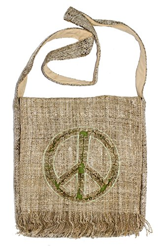 Unisex Bohemian 100% Hemp Peace Sign Crossbody Hippie Messenger Bag