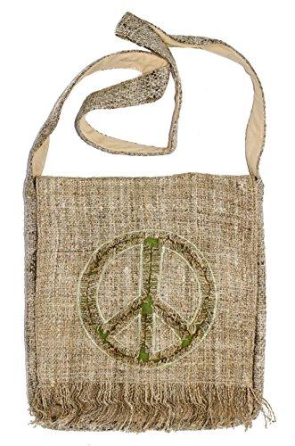 Unisex Bohemian 100% Hemp Peace Sign Crossbody Hippie Messenger Bag
