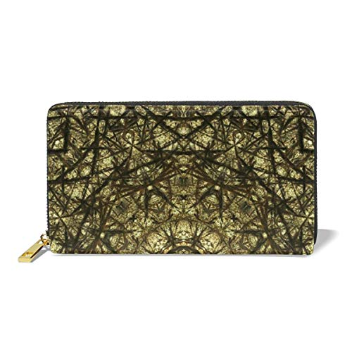 Poream Kaleidoscope Abstract Full Color Pattern Cylinder Customized Leather Zipper Printed Clutch Bag Wallet Card Large Capacity Long Purse For Women